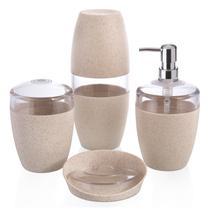 Conjunto para Banheiro 4 Peças Saboneteira Porta Escovas Cana - Ou