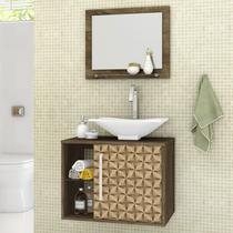 Conjunto para Banheiro Baden Madeira Rústica 3D Bechara -