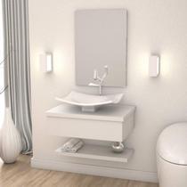Conjunto para Banheiro Gabinete com Cuba F44 e Prateleira 605W Metrópole Compace Branco Chess -