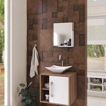Conjunto para Banheiro Gabinete com Cuba Folha L34 e Espelheira Soft 500W - Compace
