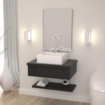 Conjunto para Banheiro Gabinete com Cuba Q35 e Prateleira 605W Metrópole Compace Preto Onix -
