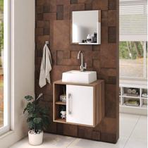 Conjunto para Banheiro Gabinete com Cuba Quadrada Q32 e Espelheira Soft 500W Compace -