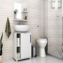 Conjunto Para Banheiro Painel Espelho Balcão Branco BBN19 - Brv Moveis