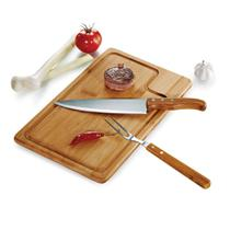 Conjunto para churrasco 3 peças em inox e bambu - Welf