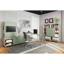 Conjunto para Escritório 4 Peças com Rack, Painel e Estantes Be Mobiliário Aveiro/Verde -