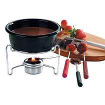 Conjunto para fondue 7 peças preto brinox -