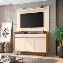 Conjunto para Sala com Aparador Quartzo e Painel para TV até 50 Polegadas Kenzo Móveis Bechara Cinamomo/Off White -