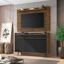 Conjunto para Sala com Aparador Quartzo e Painel para TV até 50 Polegadas Kenzo Móveis Bechara Madeira Rústica/Preto Fosco -