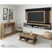 Conjunto para Sala de Estar Aparador, Mesa de Centro e Painel para TV até 65 Polegadas Mônaco Artely Rústico/Preto -