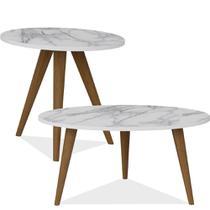 Conjunto Para Sala de Estar com Mesa de Centro e Mesa de Canto Lateral Retrô Branco Carrara - Be Mobiliário -
