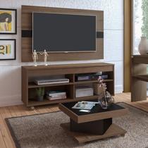 Conjunto para Sala de Estar com Rack com Painel e Mesa de Centro Amêndoa/Preto Espresso Móveis Amêndoa/Preto -