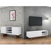 Conjunto para Sala de Estar Rack para TV e Aparador 2 Portas Retrô Milano Classic Estilare Branco -