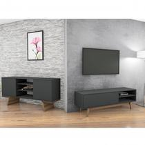 Conjunto para Sala de Estar Rack para TV e Aparador Buffet 2 Portas Retrô Milano Classic Estilare Preto -
