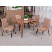 Conjunto para Sala de Jantar Cactus Mesa em Madeira 120 cm estilo demolição e 04 cadeiras Modelo 834 - Modecor