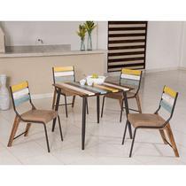 Conjunto para Sala de Jantar Calcário Mesa em Madeira Estilo Demolição 90 cm Color e 04 Cadeiras Color Modelo 470 - Modecor