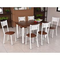 Conjunto para Sala de Jantar Ipê Mesa em Madeira 110 cm Branca e 06 Cadeiras Modelo 551 - Modecor