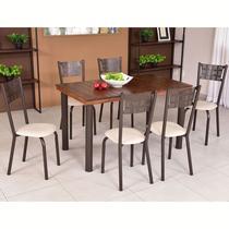 Conjunto para Sala de Jantar Ipê Mesa em Madeira 140 cm Café e 06 Cadeiras Modelo 551 - Modecor