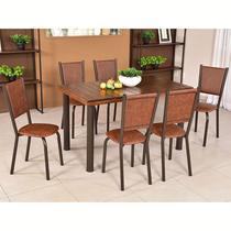 Conjunto para Sala de Jantar Ipê Mesa em Madeira 140 cm Café e 06 Cadeiras Modelo 562 - Modecor