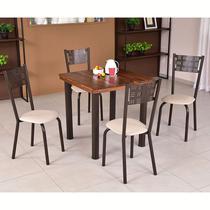 Conjunto para Sala de Jantar Ipê Mesa em Madeira 80 cm Café e 04 Cadeiras Modelo 551 - Modecor