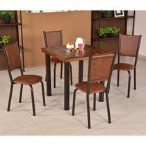 Conjunto para Sala de Jantar Ipê Mesa em Madeira 80 cm Café e 04 Cadeiras Modelo 562 - Modecor