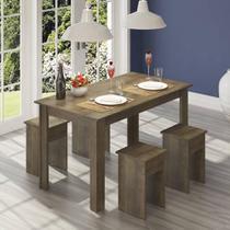 Conjunto Para Sala De Jantar Mesa e 4 Banquetas com Acabamento Texturizado Fosco Uv  Nover - Casamia