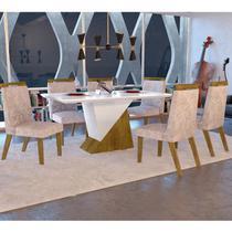 Conjunto para Sala de Jantar Mesa e 6 Cadeiras Juá Espresso Móveis Canela/Off White/Pena Palha -