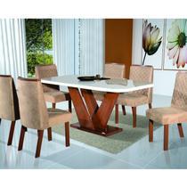 Conjunto para Sala de Jantar Mesa e 6 Cadeiras Yescasa Amendoa -