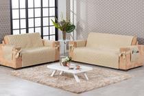 conjunto para sofá 2 e 3 lugares com laço e porta objetos matelado bege - Brucebaby Bordados