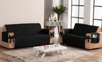 conjunto para sofá 2 e 3 lugares com laço e porta objetos matelado preto - Brucebaby Bordados