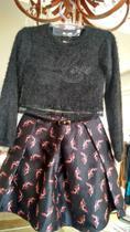 Conjunto Petit Cherie de blusa manga longa e saia com estampa de sapato vermelho com salto -