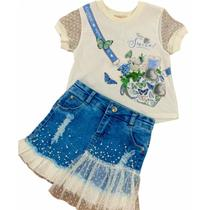 Conjunto Petit Cherie Infantil  Smile Saia Jeans Inverno -