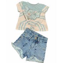 Conjunto Petit Cherie Rose Garden Short Jeans Inverno -
