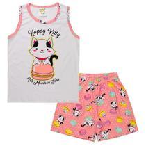 Conjunto Pijama Infantil Menina Brilha No Escuro Regata Rosa - Fantoni