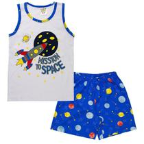 Conjunto Pijama Infantil Menino Brilha No Escuro Regata Branco - Fantoni