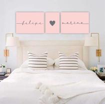 Conjunto Placas Decorativas Cabeceira Nome Casal Personalizado Rosa Coração - Adoro Decor