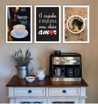 Conjunto Placas Decorativas Cozinha Pequena mas cheia de amor Café - Adoro Decor