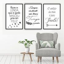 Conjunto Placas Decorativas Frases Ser Feliz Sempre em Frente Sentido da vida - Adoro Decor