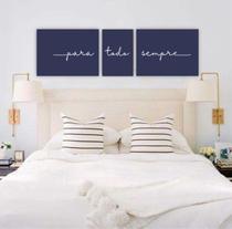 Conjunto Placas Decorativas Quarto Casal Cabeceira Para Todo Sempre - Azul - Adoro Decor