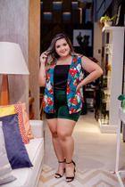 Conjunto Plus Size 3 Pç Short Blusa e Kimono Estampado - Bellucy Modas