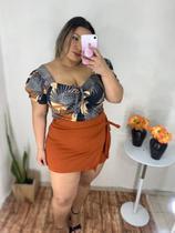 Conjunto plus size verão short saia e blusa - Lucy Pinheiro Moda Feminina