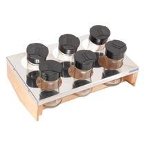 Conjunto porta condimentos essence madeira e inox domama -