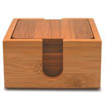Conjunto Porta-copos Quadrado Bambu 7peças (6pçs + Suporte) - Yoi