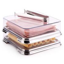 Conjunto Porta Frios Multiuso 2 Unidades Mais Pinça Cozinha - Forma Inox