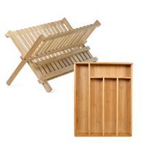 Conjunto Porta Talheres e Escorredor de Pratos Bege Bambu Mimo Style -