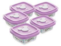 Conjunto Pote de Vidro Quadrado 5 Peças com Tampa - 300ml Nadir Disney Facilita Baby