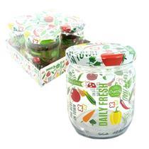 Conjunto pote de vidro redondo com tampa decorado pimenta e legumes com 4 peças 425ml - satyam -