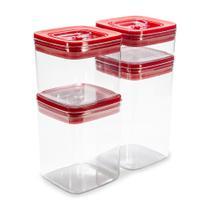 Conjunto Potes com Tampa Hermética 4 Unidades Quadrado P/M/G/GG Vermelho - Arthi -