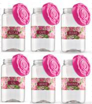 Conjunto potes de mantimento 1.450 ml em polietileno rosas - Bandeirantes