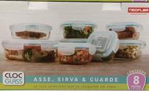 Conjunto potes de vidro com tampa C/8 NEOFLAM -