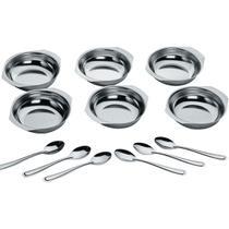 Conjunto Potes Sobremesa Inox 12 Peças Pote Colher Cozinha - Zanline